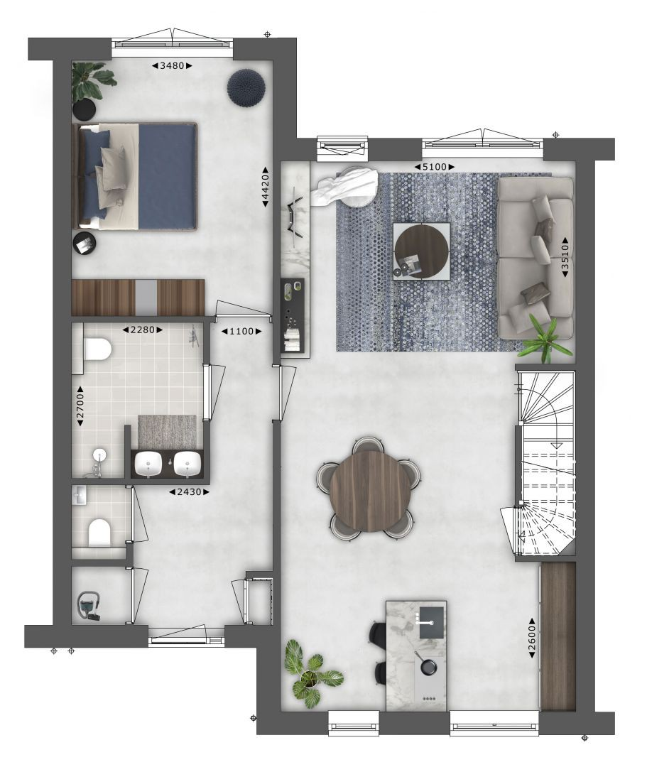 Plattegrond begane grond Semi bungalow - Type I WIECK